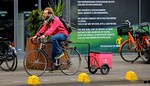 Sandwiches, pizza, groceries and toddlers. It all moves by bike in Amsterdam.